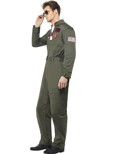 Disfraz de aviador Top Gun deluxe para hombre - original
