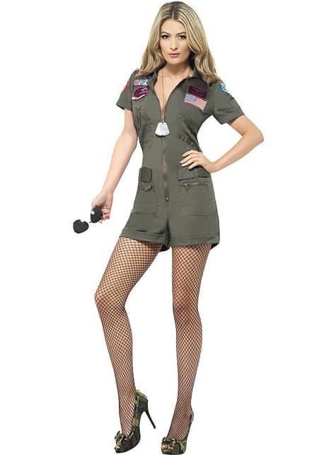 Disfraz de aviadora Top Gun sexy para mujer
