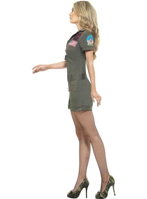 Disfraz de aviadora Top Gun sexy para mujer - original