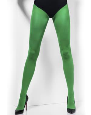 Meias-calças verdes opacas