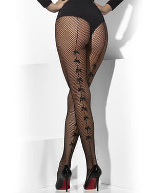 Black mesh tights with bows