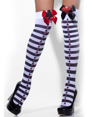 Meias-calças de arlequim às riscas brancas e pretas