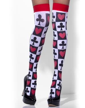 Meias-calças de arlequim com corações e trevos