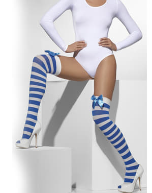 Blue and white striped hold up tights with bows