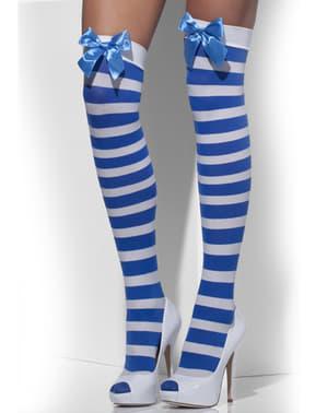 Sinivalkoraidalliset stay-up sukat ruseteilla
