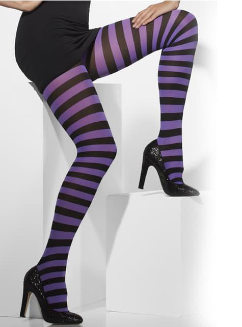 黒と紫の縞模様タイツ