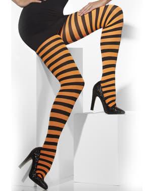 Meias-calças às riscas pretas e cor de laranja