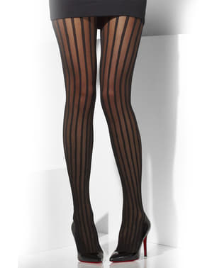 20s stijl transparante gestreepte zwarte panty