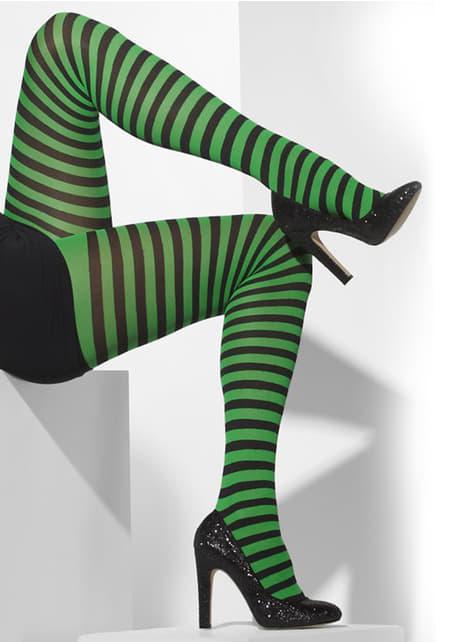 Collants rayés vert foncé et noir