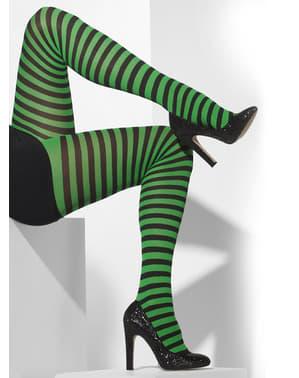 Meias-calças às riscas verde escuro e pretas