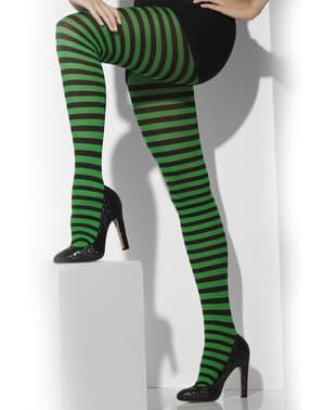 Zwart met donker groen gestreepte panty