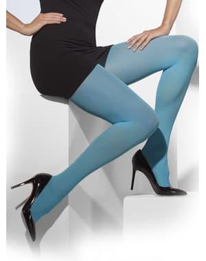 Meias-calças azuis opacas