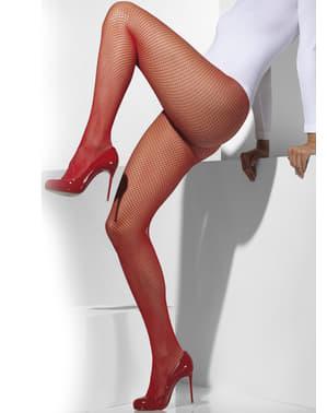 Meias-calças de rede vermelhas