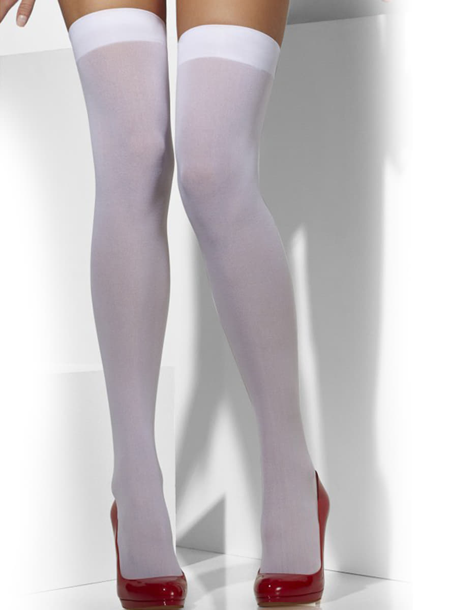 Opaque white hold up tights. The coolest | Funidelia
