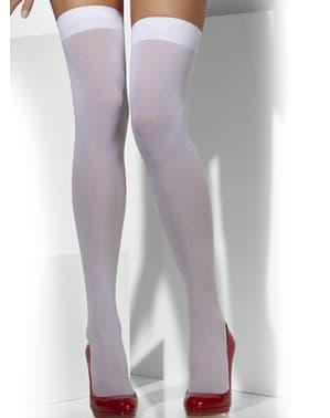Meias-calças brancas opacas