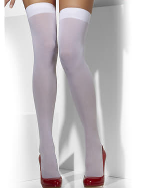 Opaque white hold up tights