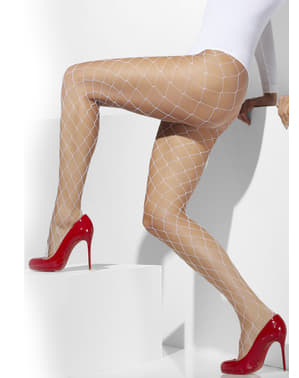 White mesh diamond tights
