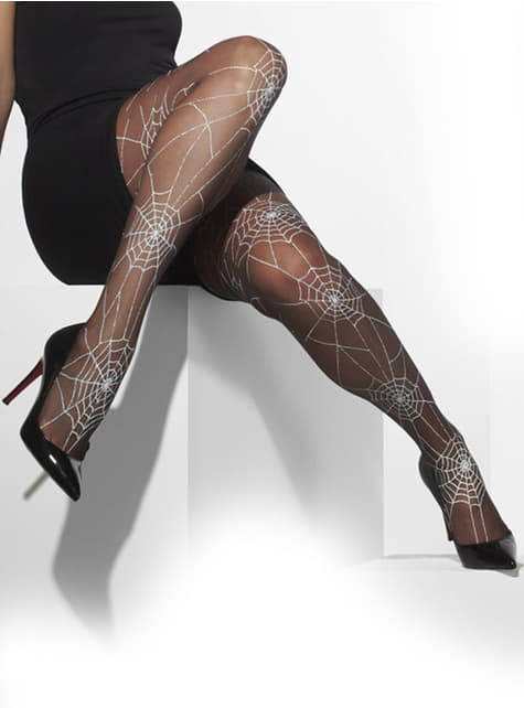 Tights with spiderwebs
