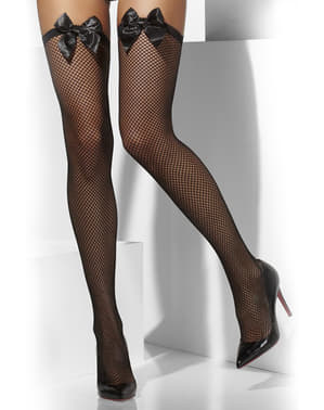 Black mesh hold up tights with bows
