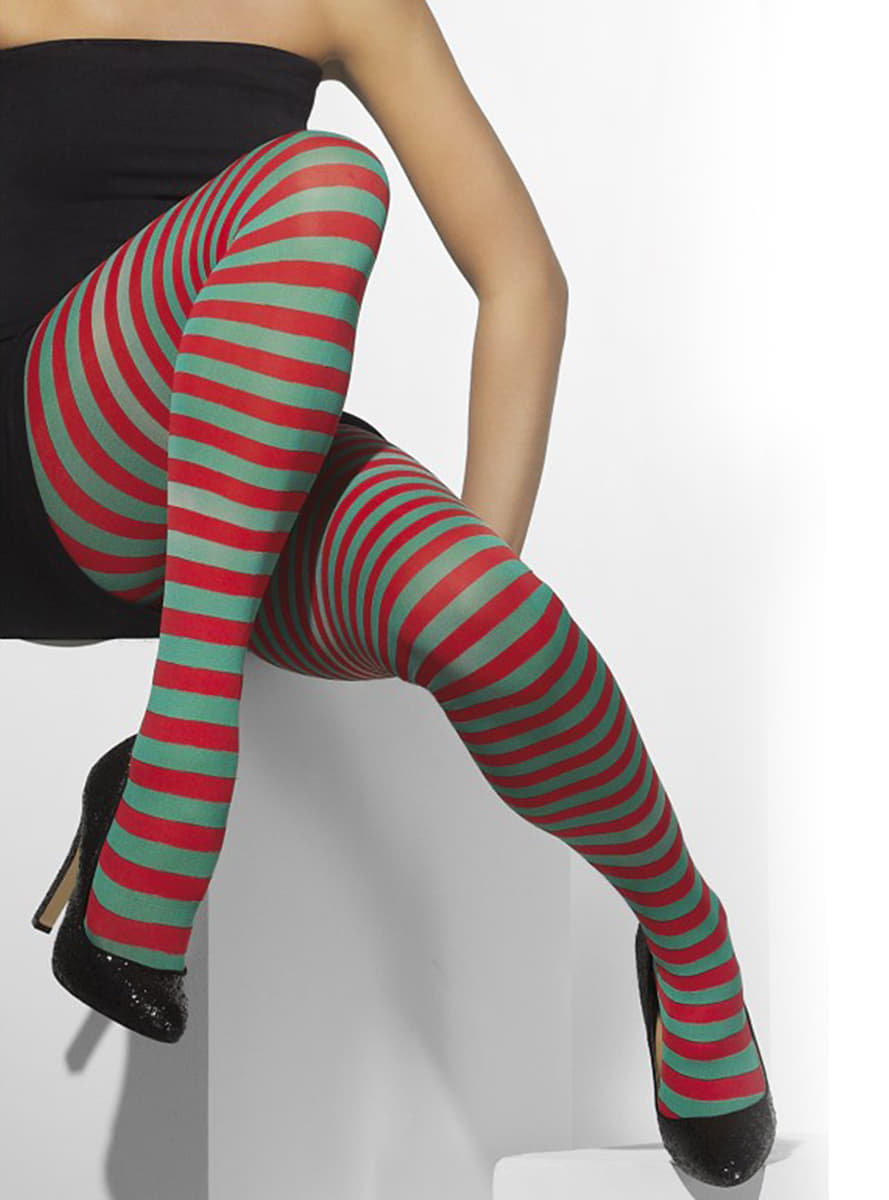 bea769d77 Red and green striped tights. Fast delivery