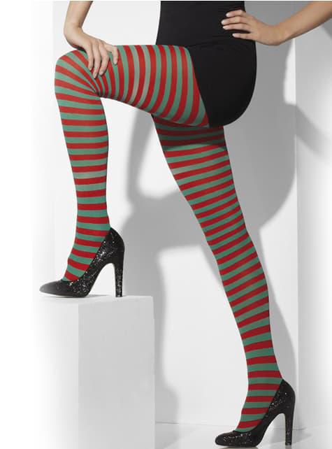 Pantys de rayas verdes y rojas - para tu disfraz