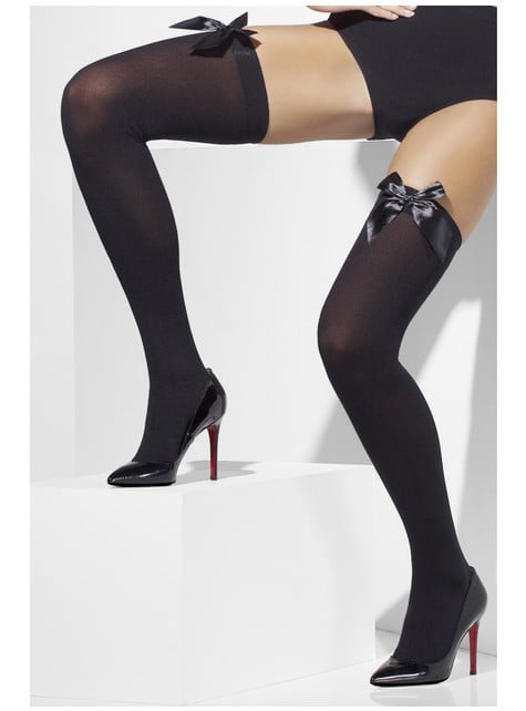 Black hold up tights with sexy bows