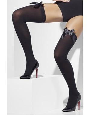 Punčochy samodržící černé se sexy mašličkami