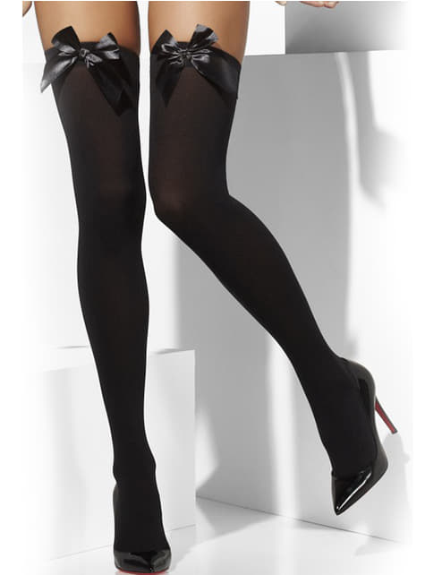 Sorte strømper med sexet sløjfe