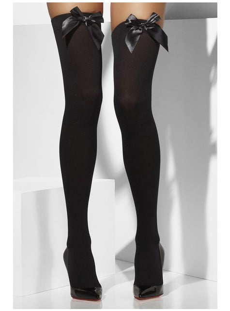 Medias negras con lazo sexy - original