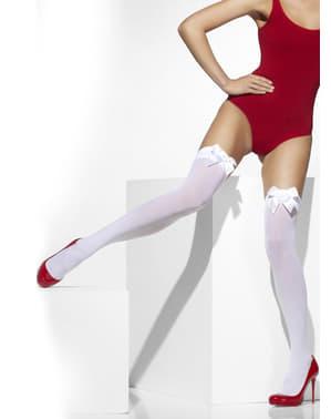 Бяло придържа чорапогащи с бели лъкове