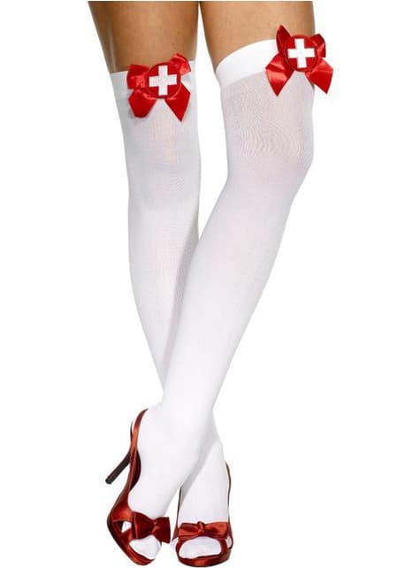 Medias enfermera blancas con lazos rojos