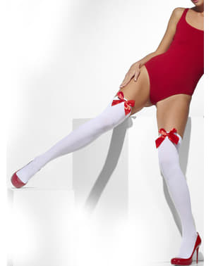 Білі сексуальні панчохи із червоними бантиками