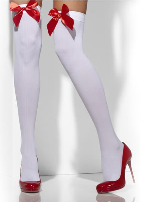 Pończochy sexy białe z czerwonymi wstążkami
