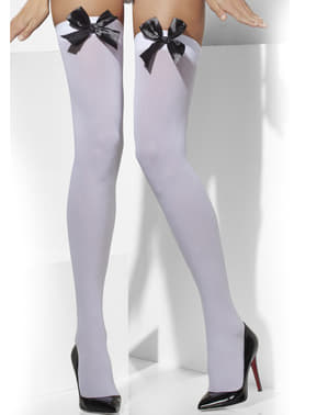 White hold up tights with black bows