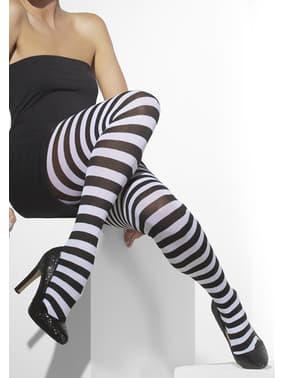 Meias-calças às riscas pretas e brancas