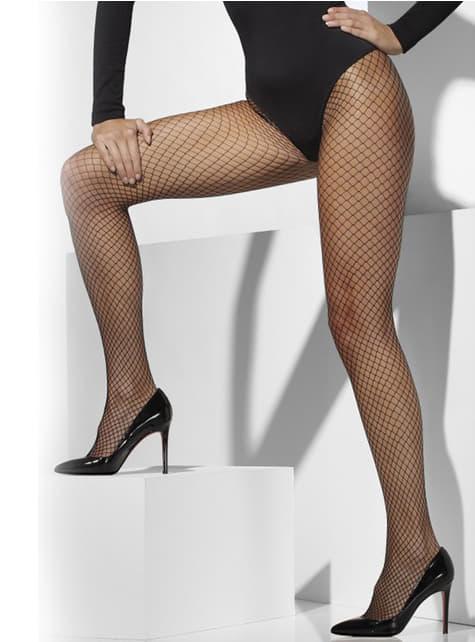 Meias-calças de rede pretas