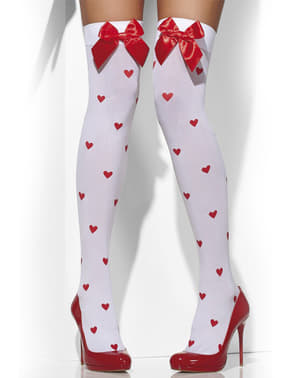 Meias-calças com corações e laços vermelhos