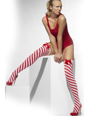 Candy cane hold up tights