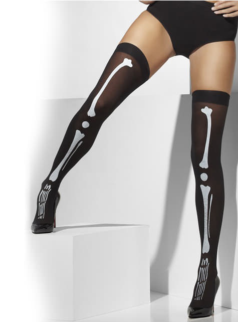 Black skeleton hold up tights