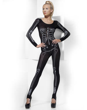 Zwart strak pak met skelet afdruk