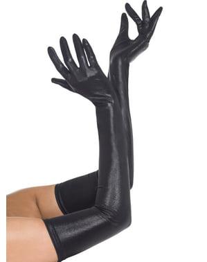 Black leather effect gloves
