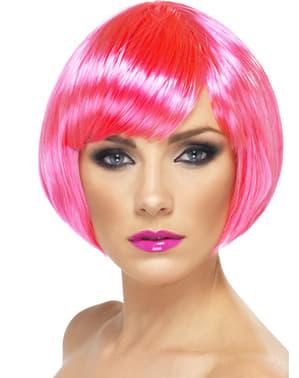 Peruca cor-de-rosa néon estilo bob com franja