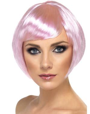 Peruca cor-de-rosa clarinho estilo bob com franja