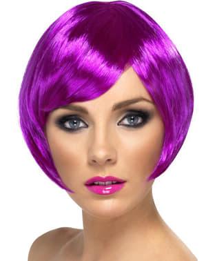 Parrucca viola caschetto con frangetta