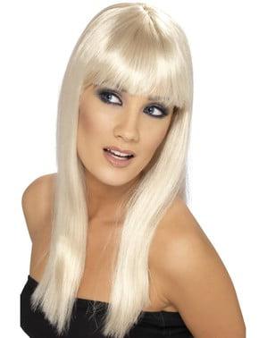 Blond glamorparykk med pannelugg