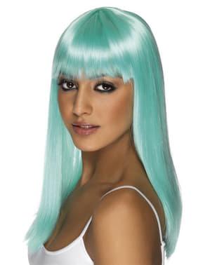 Peluca glamour azul con flequillo
