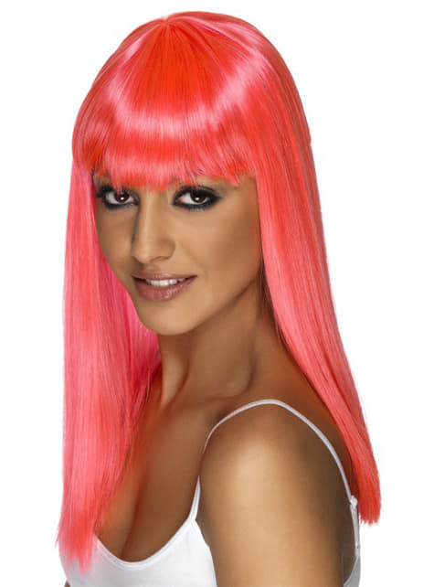 Pink neon glamour wig with fringe
