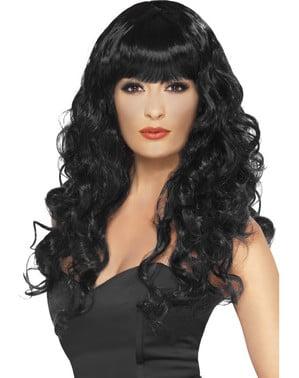 Perruque noire longue à frange