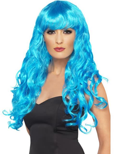 Peluca azul de sirena con flequillo