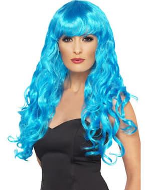 Blauwe pruik zeemeermin met pony